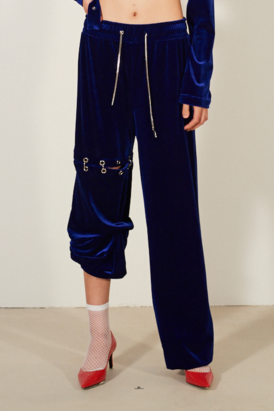 [Runway_Order Made]  velvet cut-out sweatpants