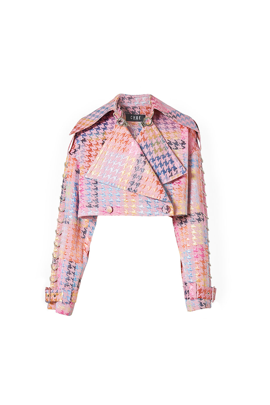 [Runway_Pre-order/Order Made] Rainbow Houndstooth cropped jacket