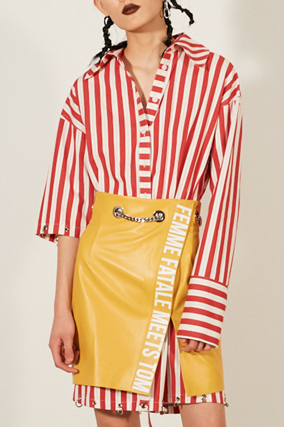 [Runway_Order Made]  bold stripe  cotton & silk blend  cut-out oversized shirts