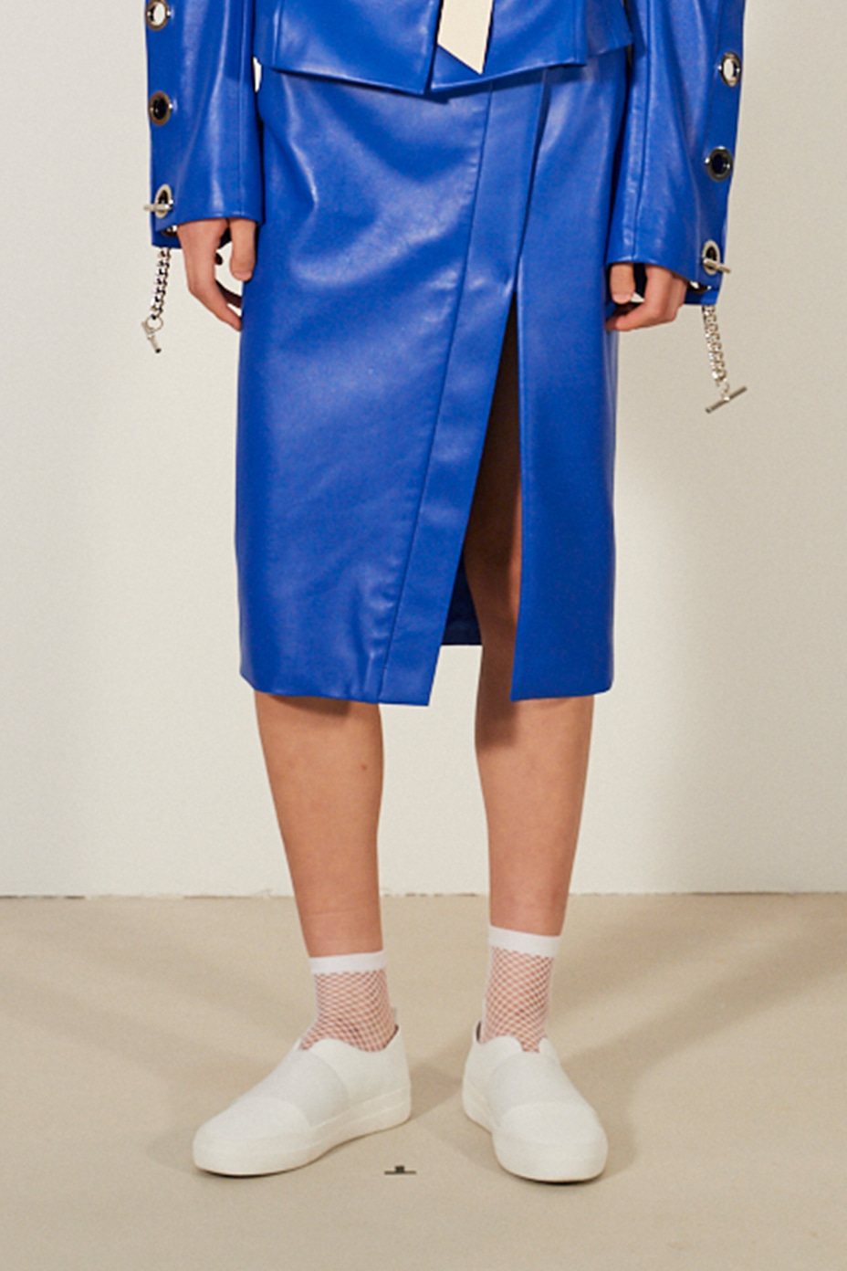 [Runway_Order Made] Italian Nappa Leather front slit skirt